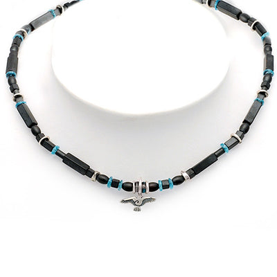 Raven hematite and apatite beaded necklace with raven bird necklace RN73