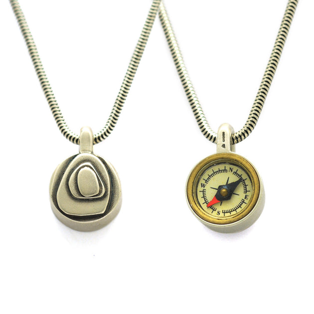 front and back view GN47S Geo Collection sterling silver reversable compass pendant by Annika Rutlin