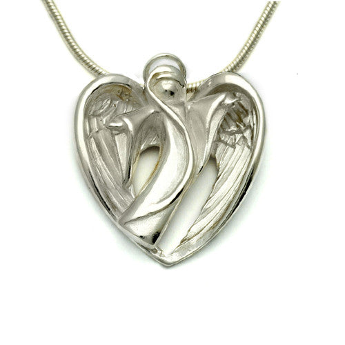 Halo silver white angel pendant on snake chain HALO20S