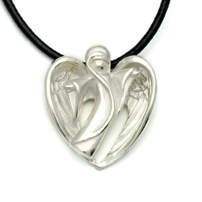 sculptured large silver feathered winged angel pendant on leather