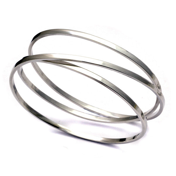 Annika Rutlin chunky coiled square wire oval silver bangle