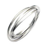 square wire interlinked oval rolling sterling silver bangles