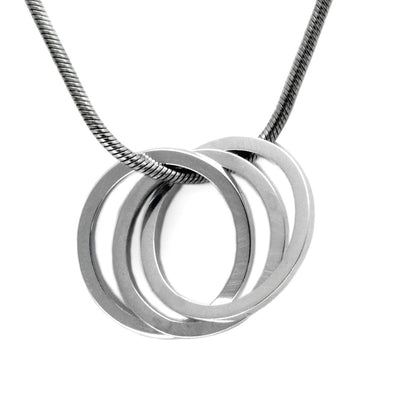 United interlocking circles pendant on snake chain UN43S
