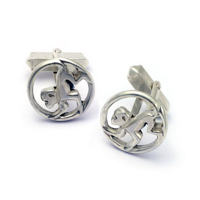 Year of the Monkey sterling silver  Annika Rutlin designer cufflinks Annika Rutlin