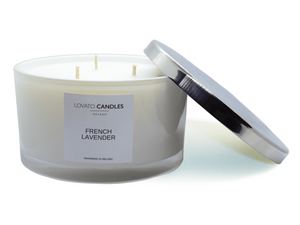 White 3-Wick Candle - French Lavender