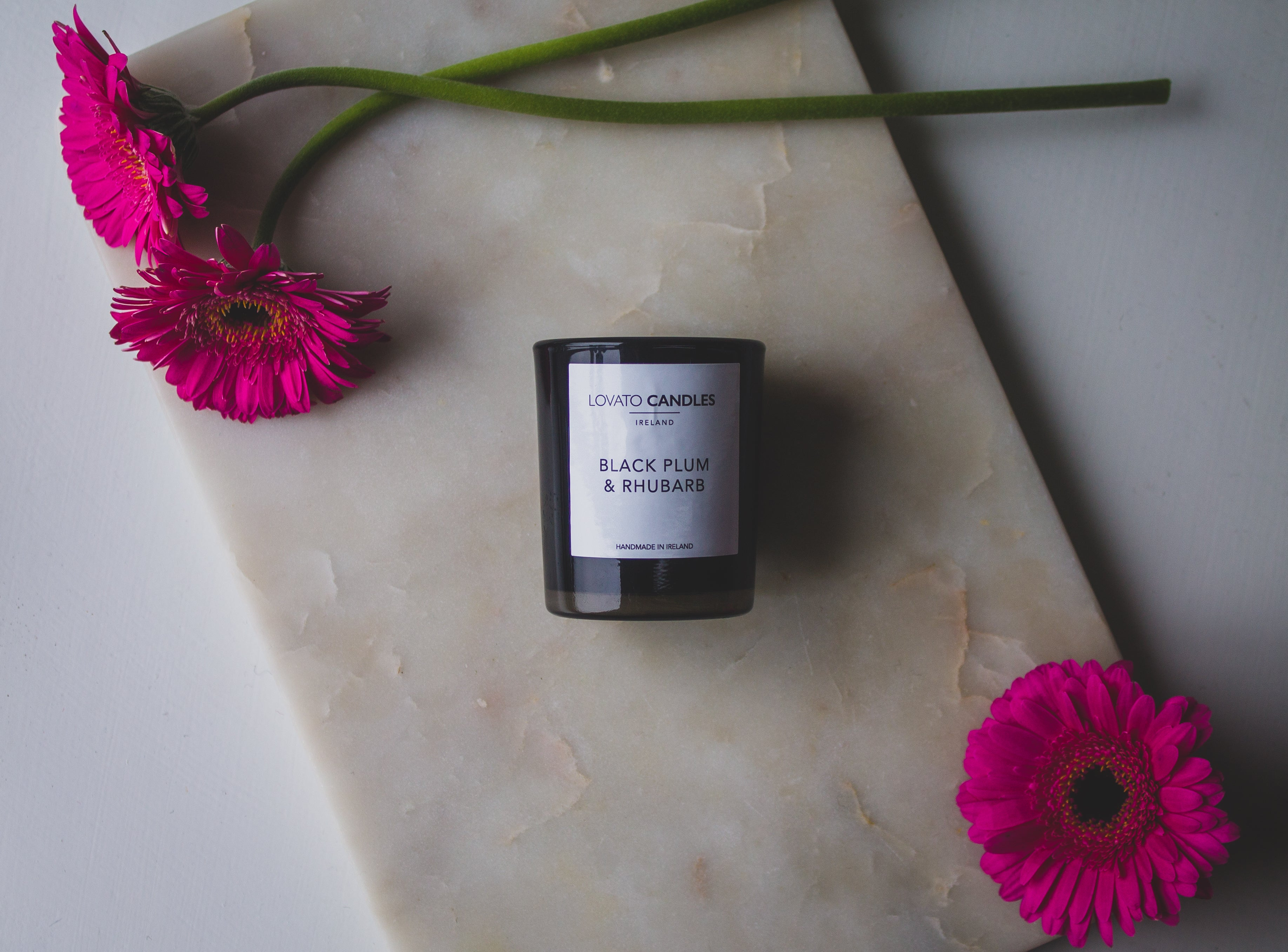 Black Votive Candle - Black Plum & Rhubarb
