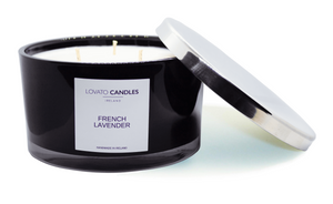 Black 3-Wick Candle - French Lavender