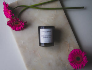 Black Votive Candle - Black Raspberry & Peppercorn
