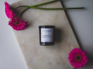 Black Votive Candle - Mandarin & Sandalwood
