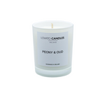 White Votive Candle - Peony & Oud