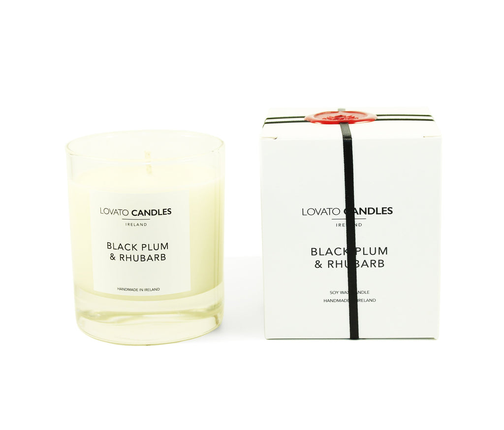 Clear Scented Candle with Luxury White Box - Black Plum & Rhubarb - Lovato Candles