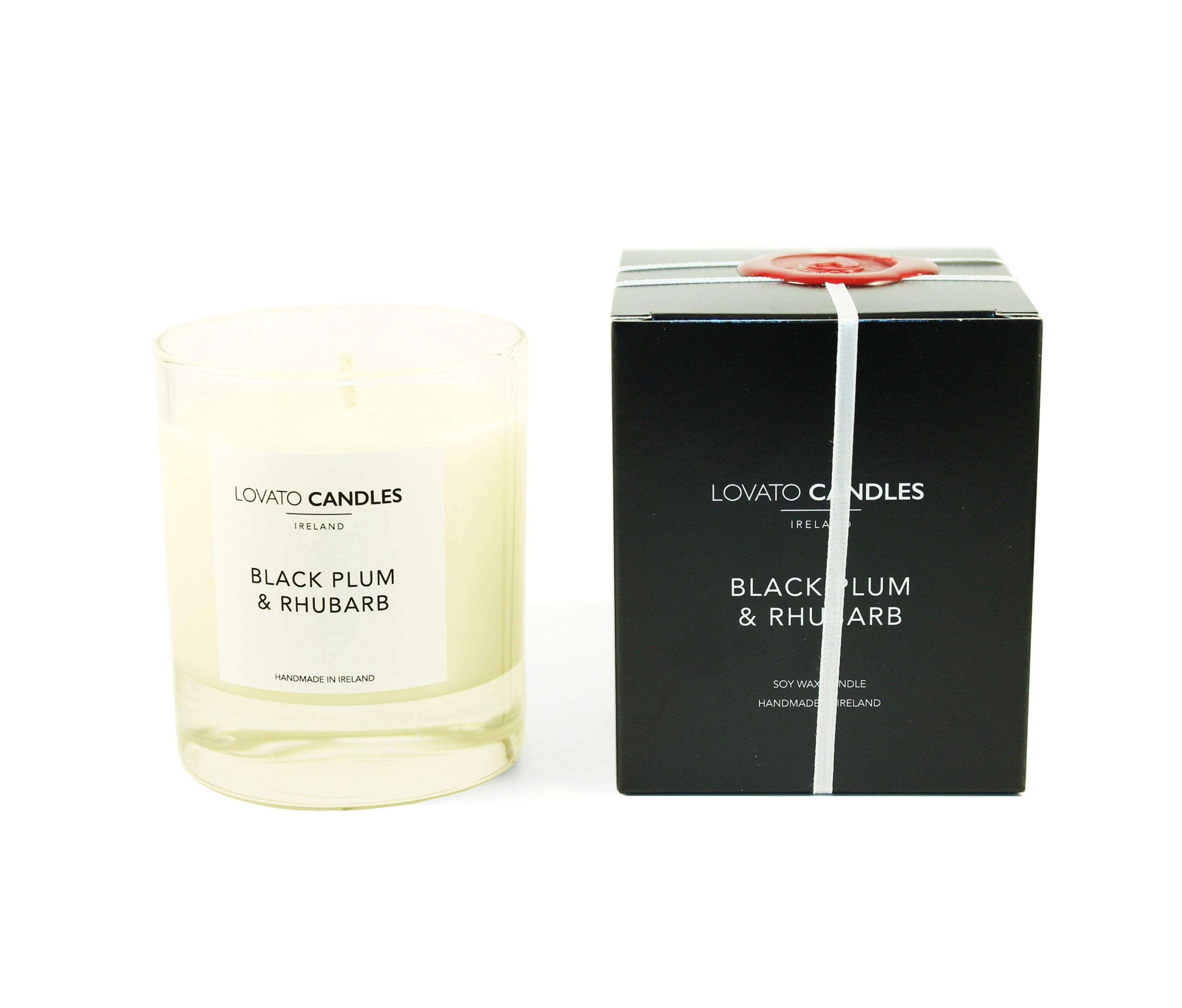 Clear Scented Candle with Luxury Black Box - Black Plum & Rhubarb - Lovato Candles