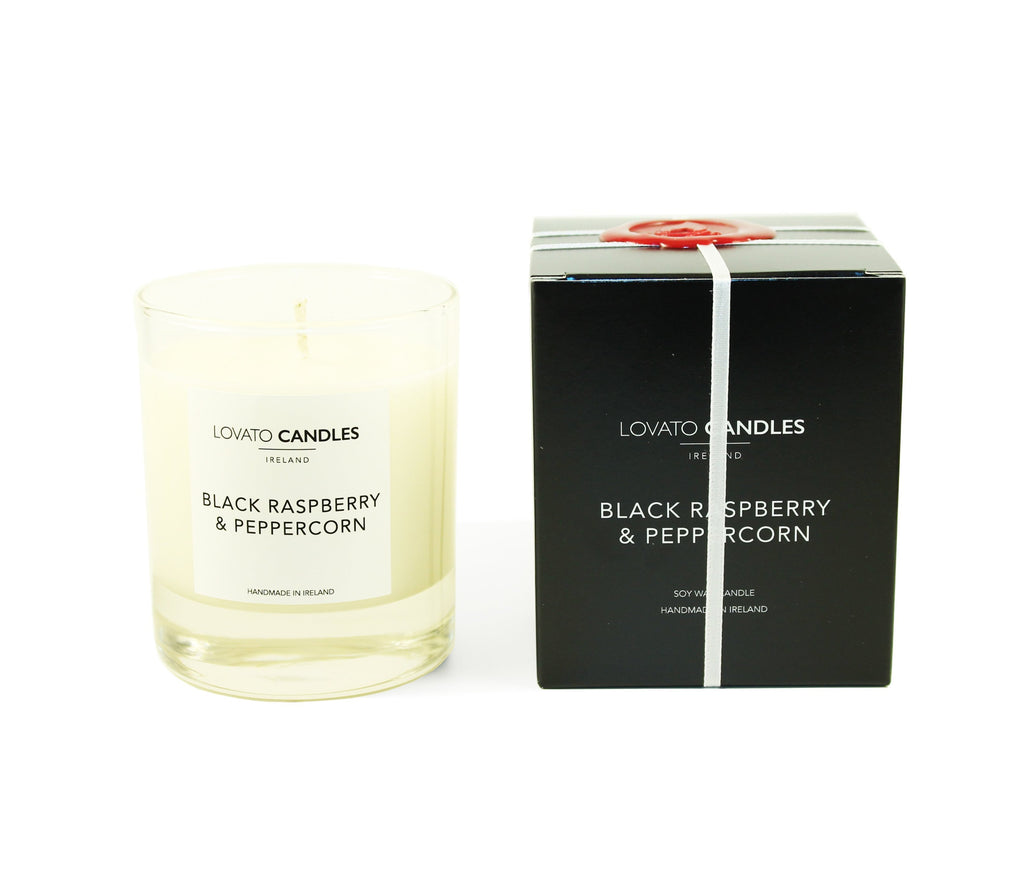 Clear Scented Candle with Luxury Black Box - Black Raspberry & Peppercorn - Lovato Candles