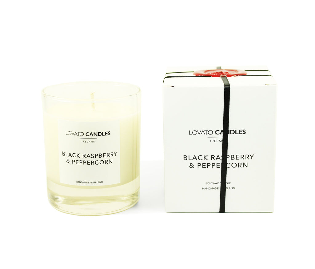 Clear Scented Candle with Luxury White Box - Black Raspberry & Peppercorn - Lovato Candles