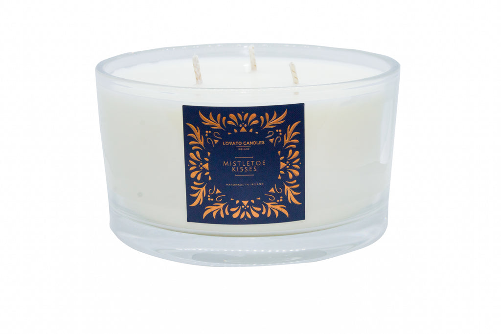 Clear 3-Wick Candle - Mistletoe Kisses