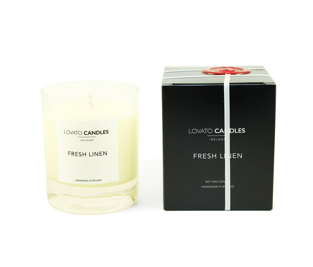 Clear Scented Candle with Luxury Black Box - Fresh Linen - Lovato Candles