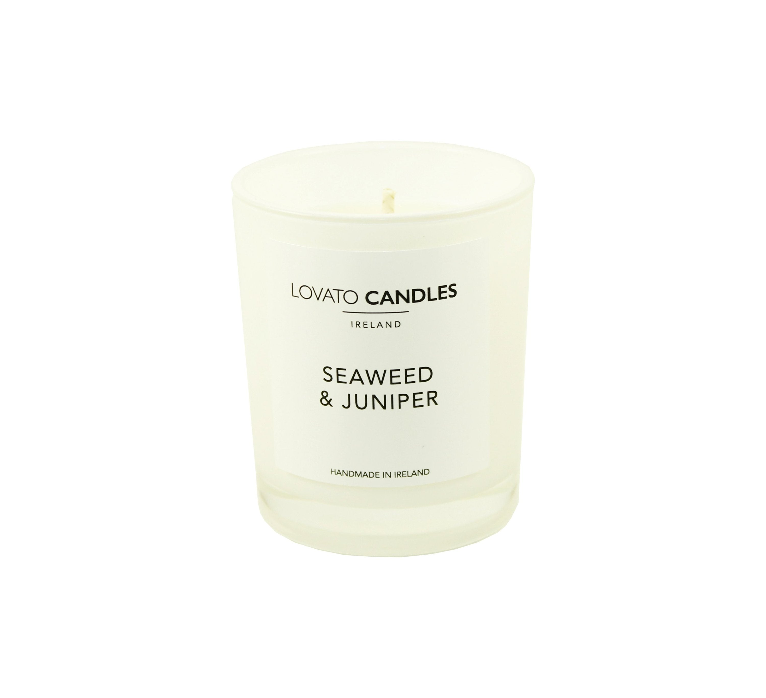 White Votive Candle - Seaweed & Juniper - Lovato Candles