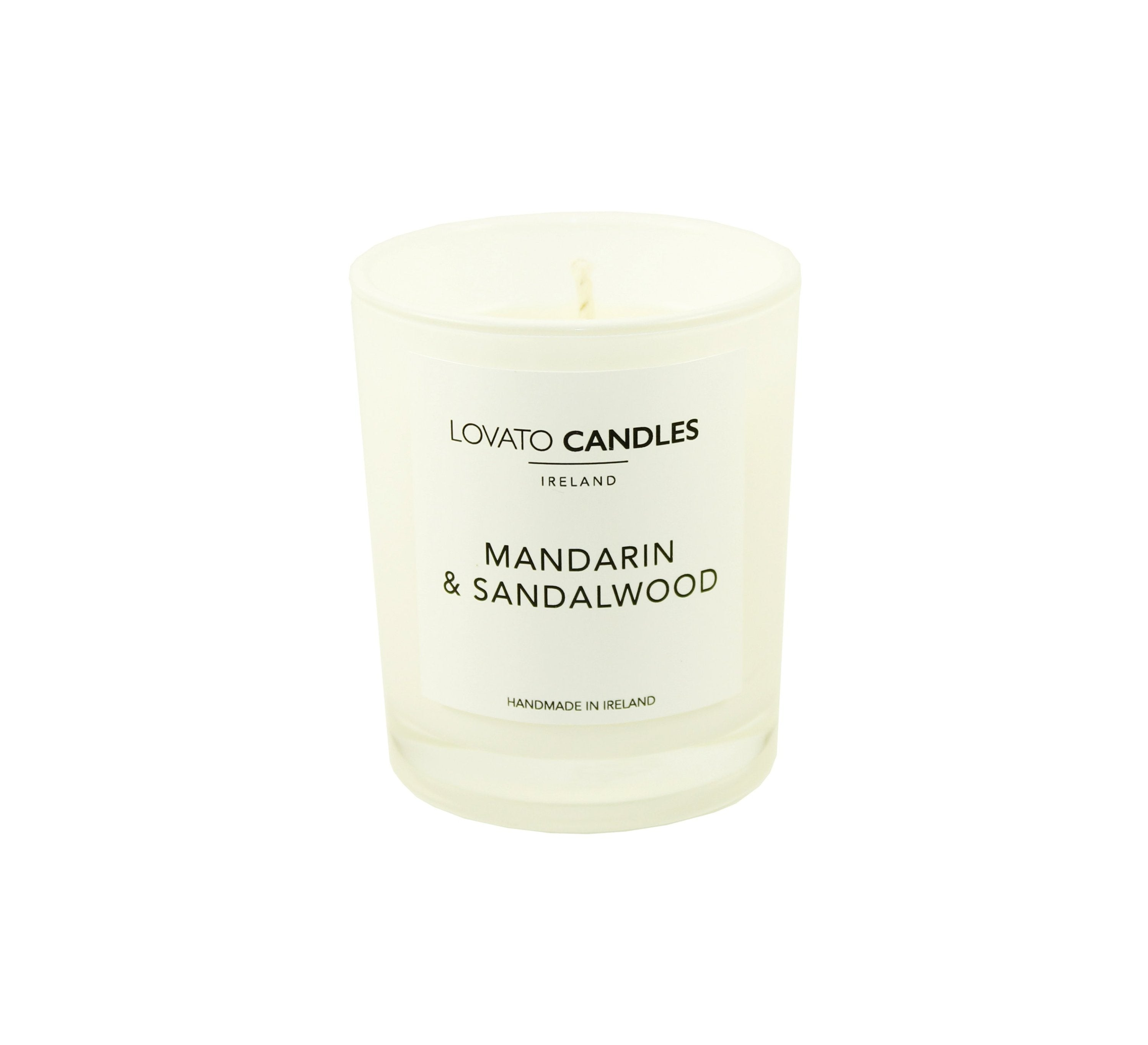 White Votive Candle - Mandarin & Sandalwood - Lovato Candles