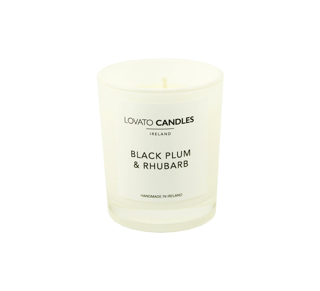 White Votive Candle - Black Plum & Rhubarb - Lovato Candles