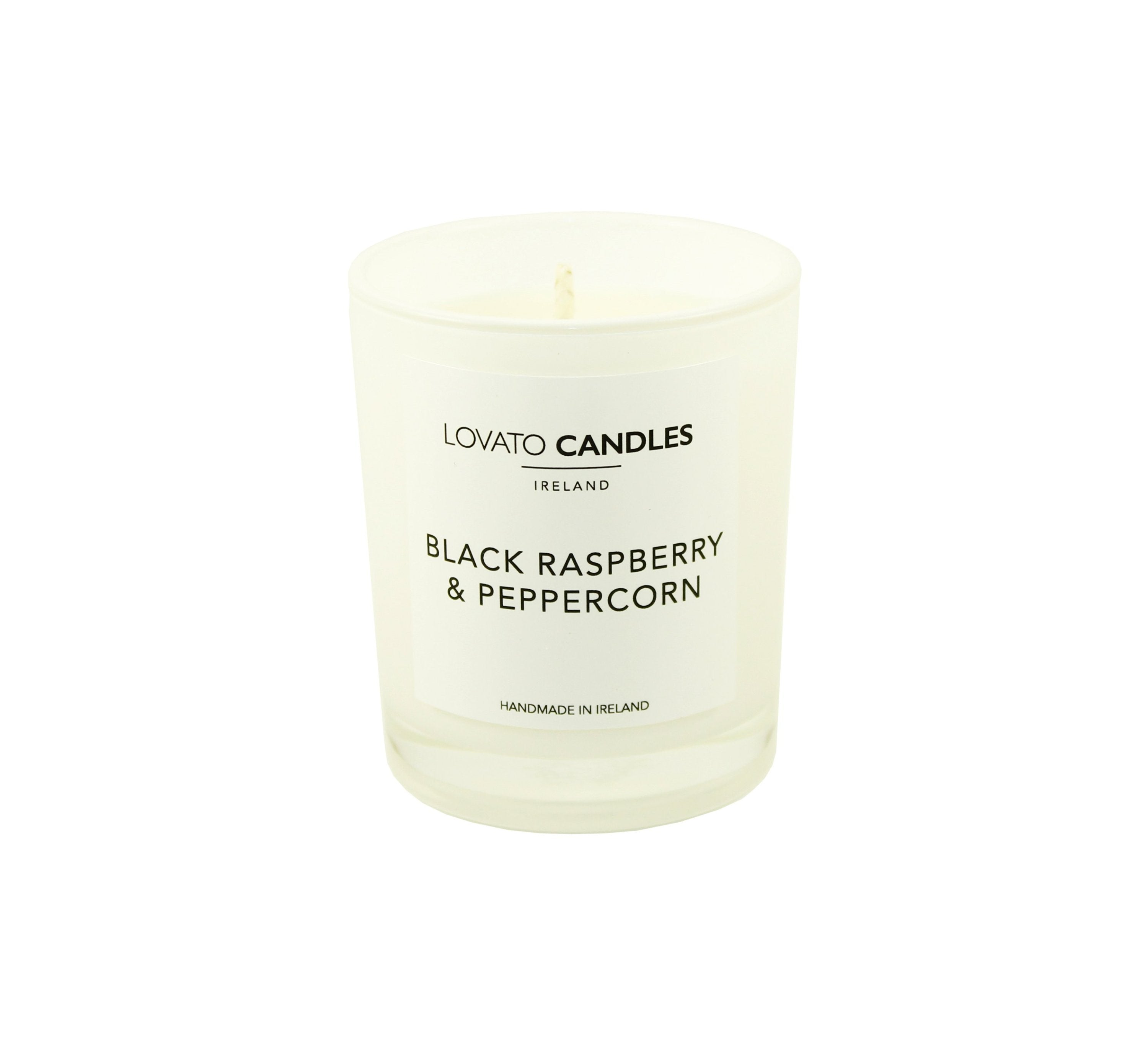 White Votive Candle - Black Raspberry & Peppercorn - Lovato Candles