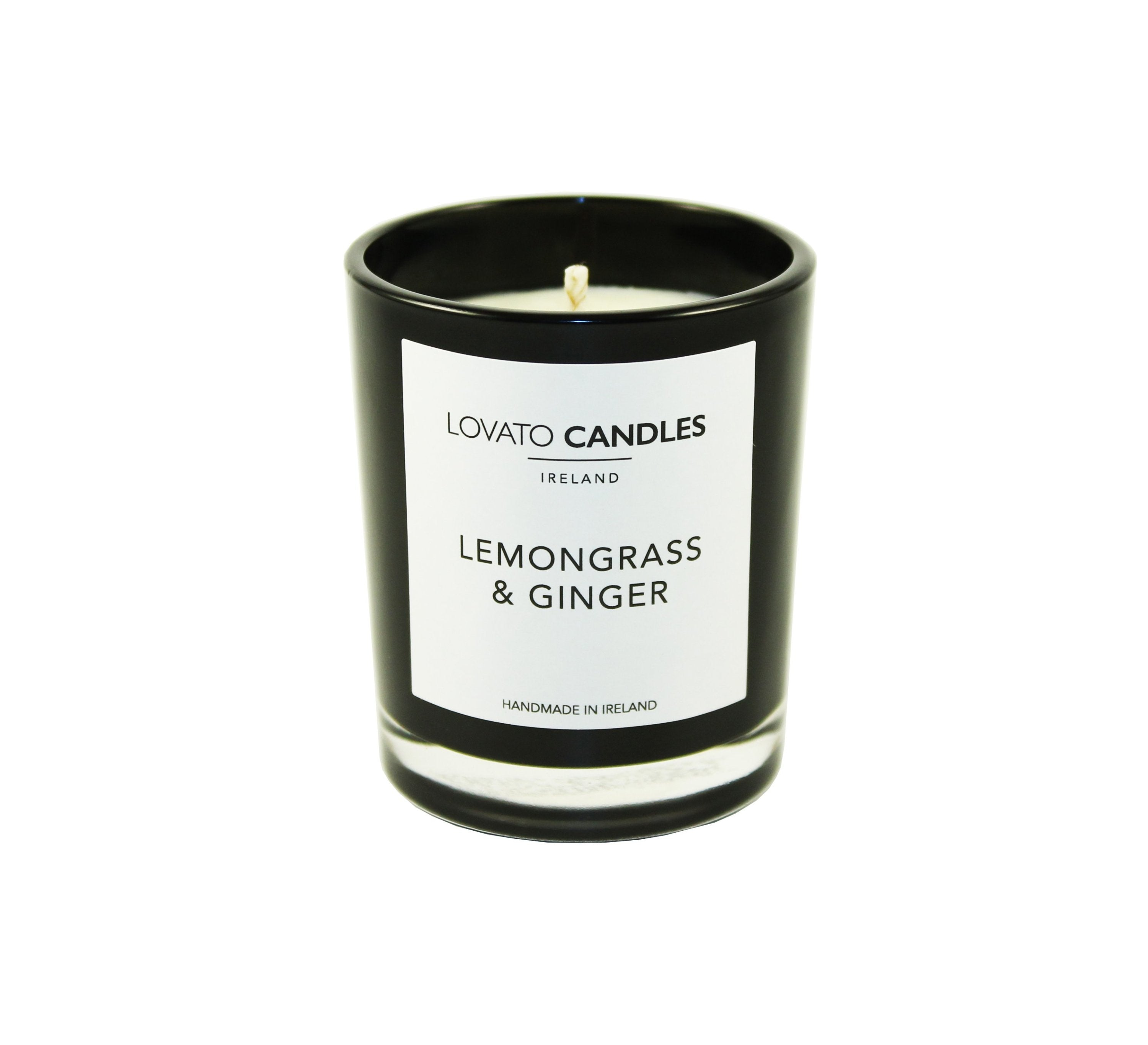 Black Votive Candle - Lemongrass & Ginger - Lovato Candles