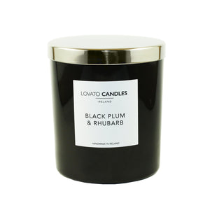 Luxury Black Candle - Black Plum & Rhubarb - Lovato Candles