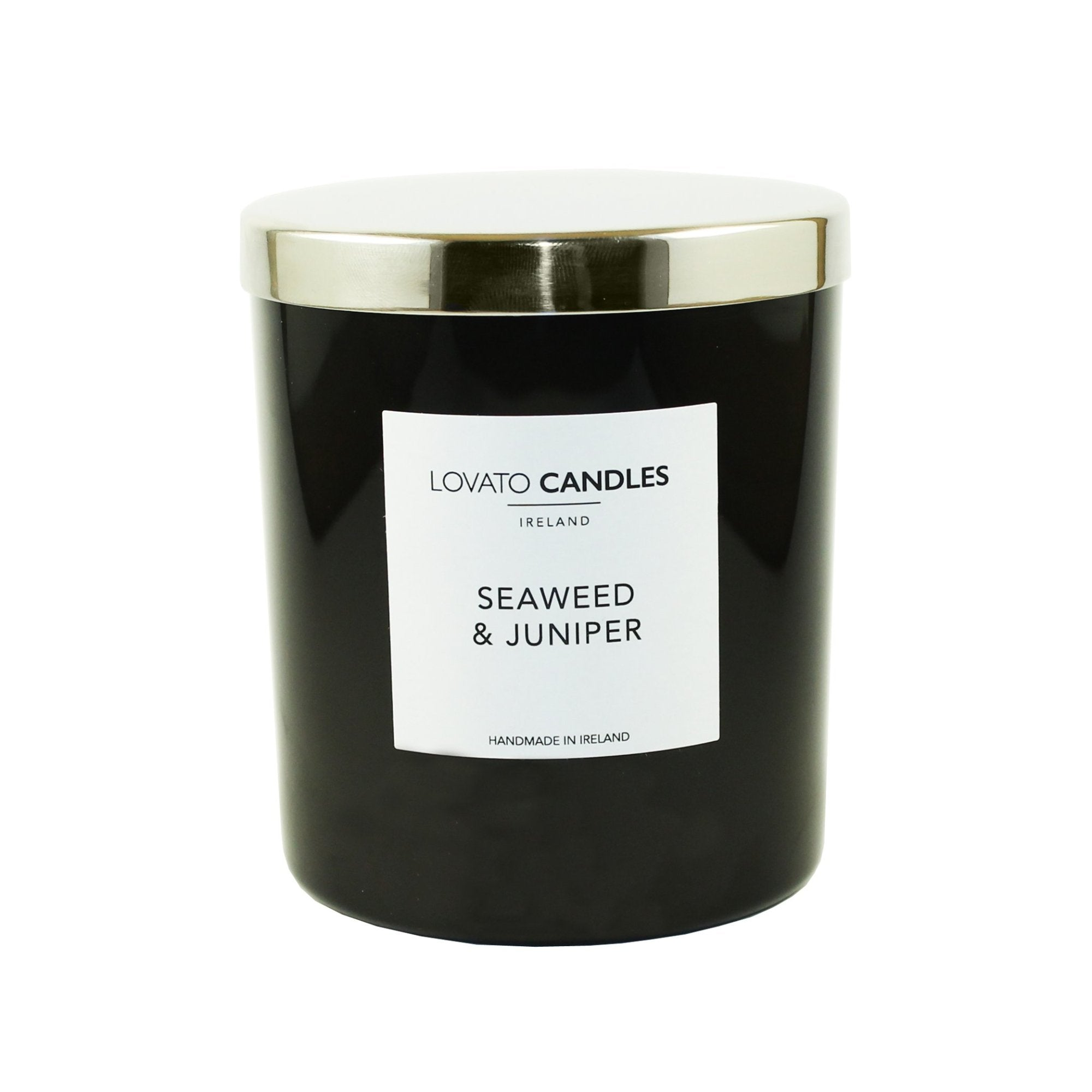 Luxury Black Candle - Seaweed & Juniper - Lovato Candles