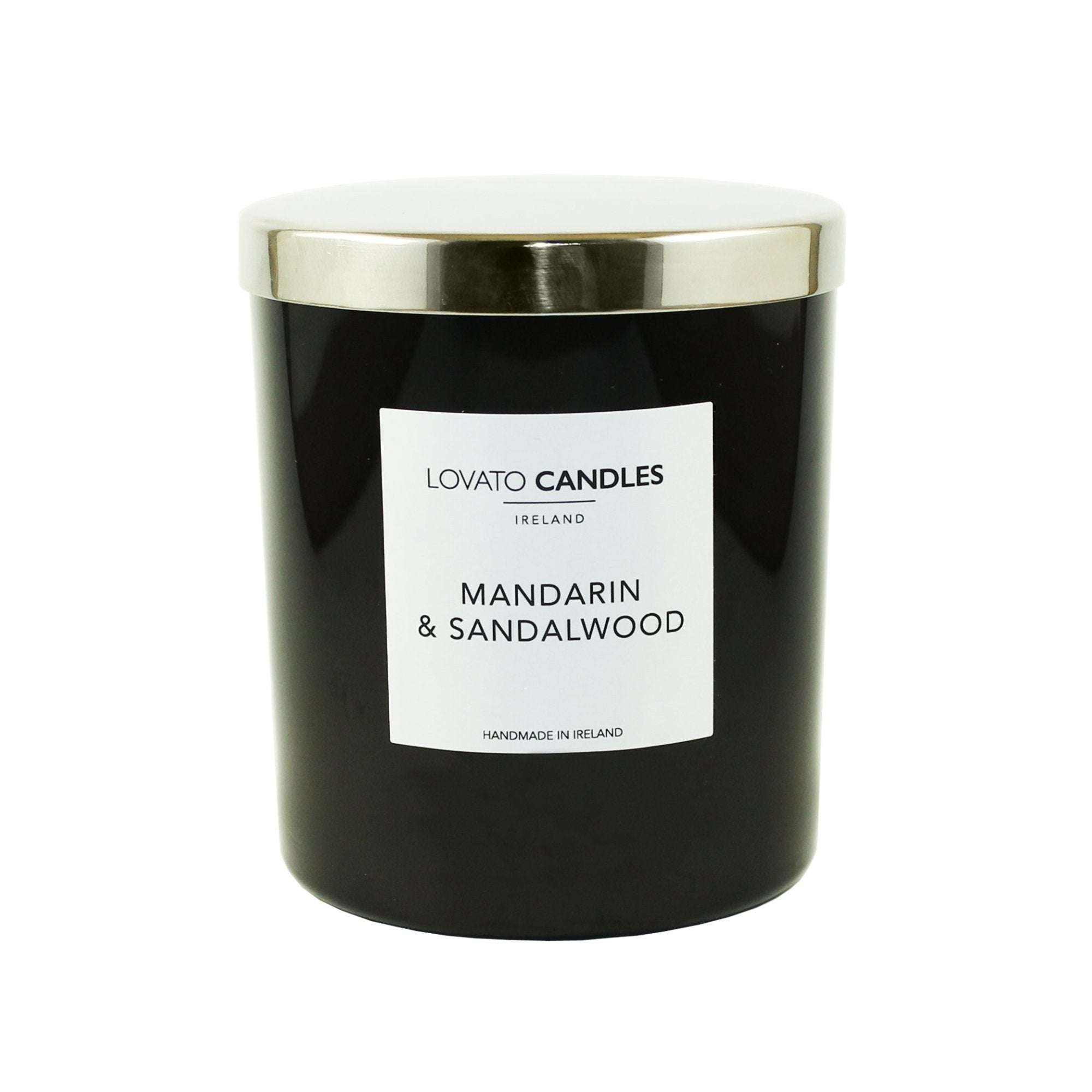 Luxury Black Candle - Mandarin & Sandalwood - Lovato Candles