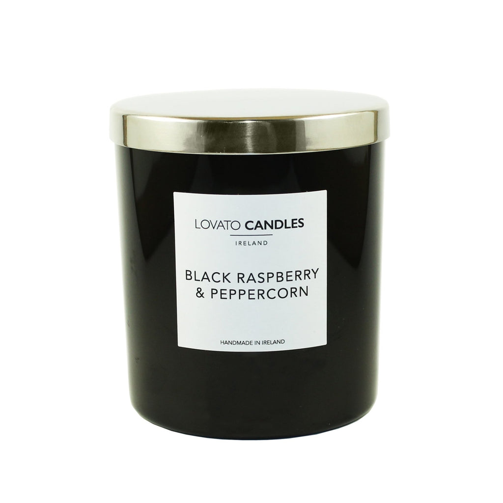 Luxury Black Candle - Black Raspberry & Peppercorn - Lovato Candles