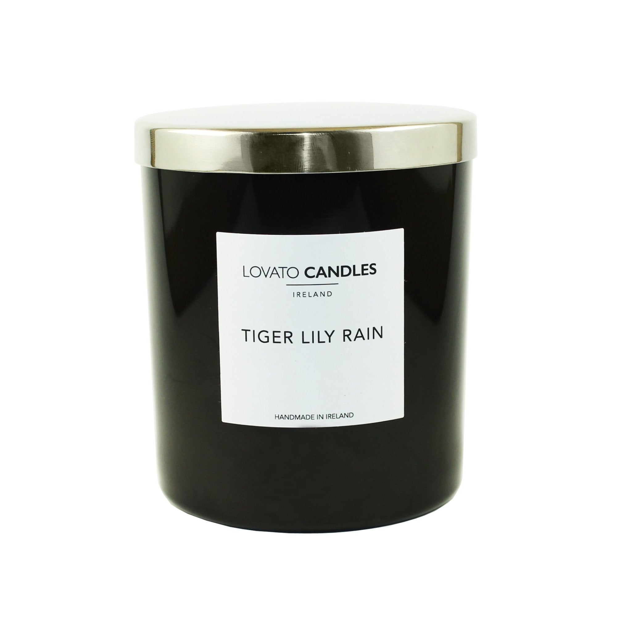 Luxury Black Candle - Tiger Lily Rain - Lovato Candles
