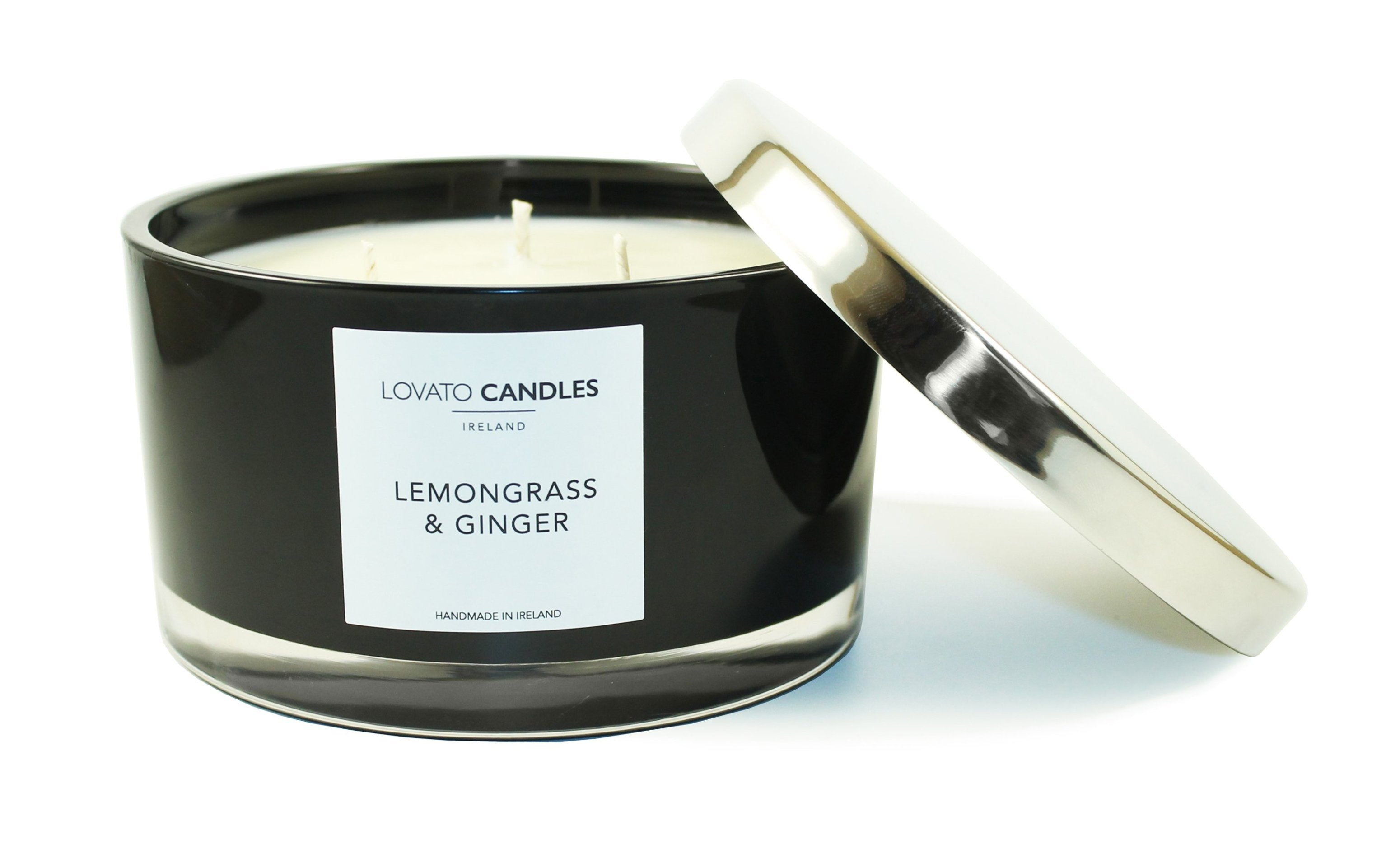 Black 3-Wick Candle - Lemongrass & Ginger - Lovato Candles