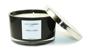 Black 3-Wick Candle - Fresh Linen - Lovato Candles