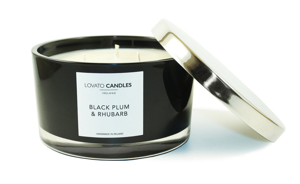 Black 3-Wick Candle - Black Plum & Rhubarb - Lovato Candles