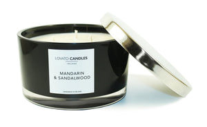 Black 3-Wick Candle - Mandarin & Sandalwood - Lovato Candles
