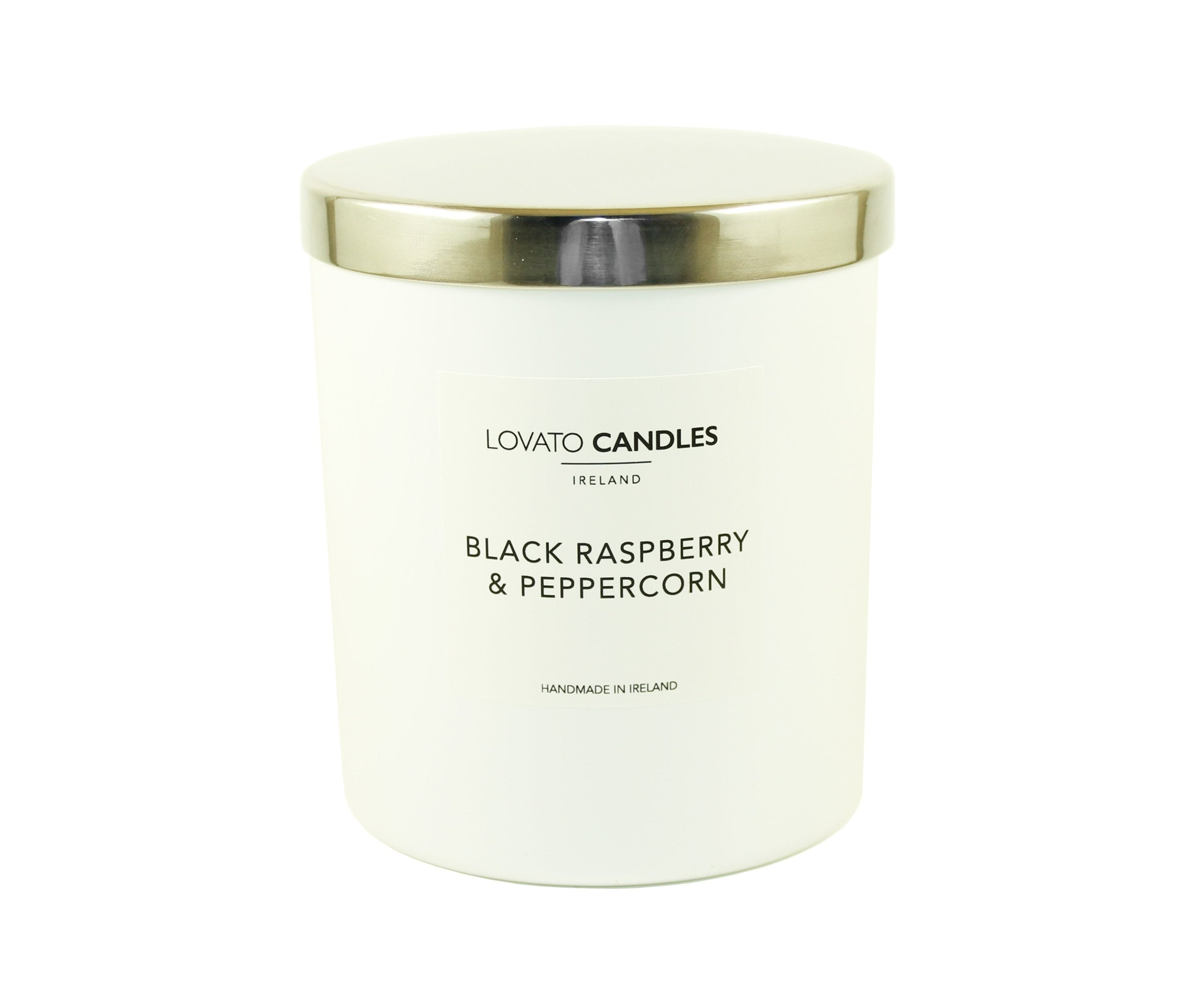 Luxury White Candle - Black Raspberry & Peppercorn - Lovato Candles