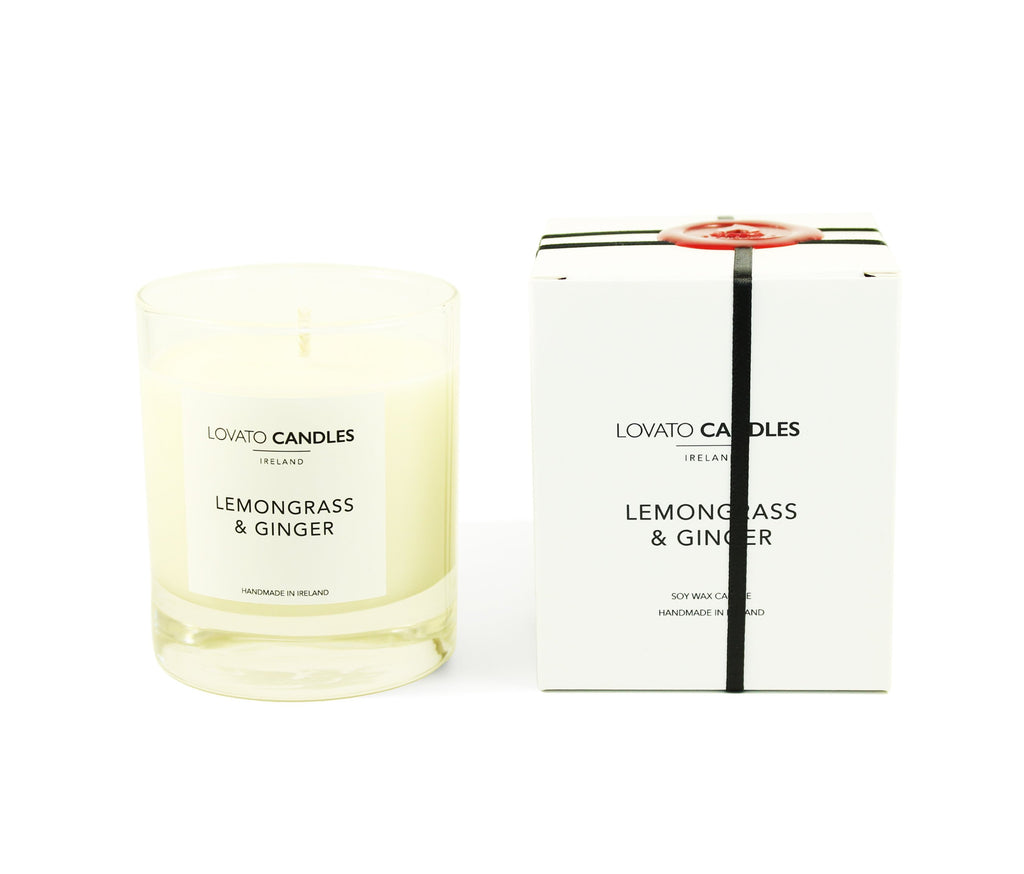 Clear Scented Candle with Luxury White Box - Lemongrass & Ginger - Lovato Candles