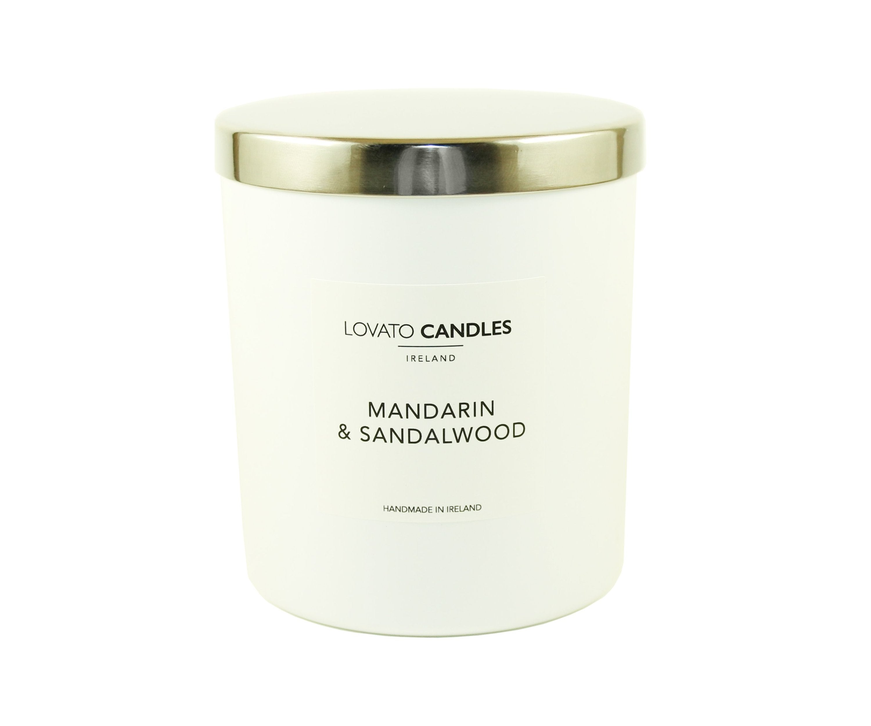 Luxury White Candle - Mandarin & Sandalwood - Lovato Candles