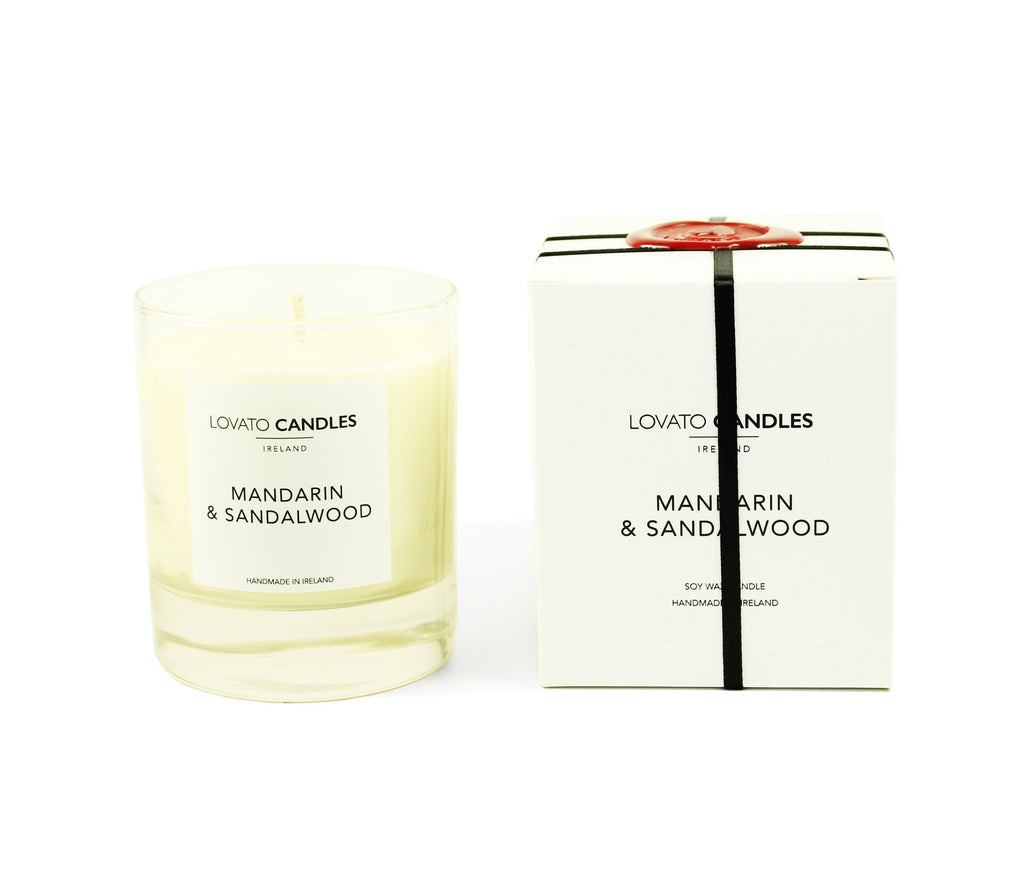 Clear Scented Candle with Luxury White Box - Mandarin & Sandalwood - Lovato Candles