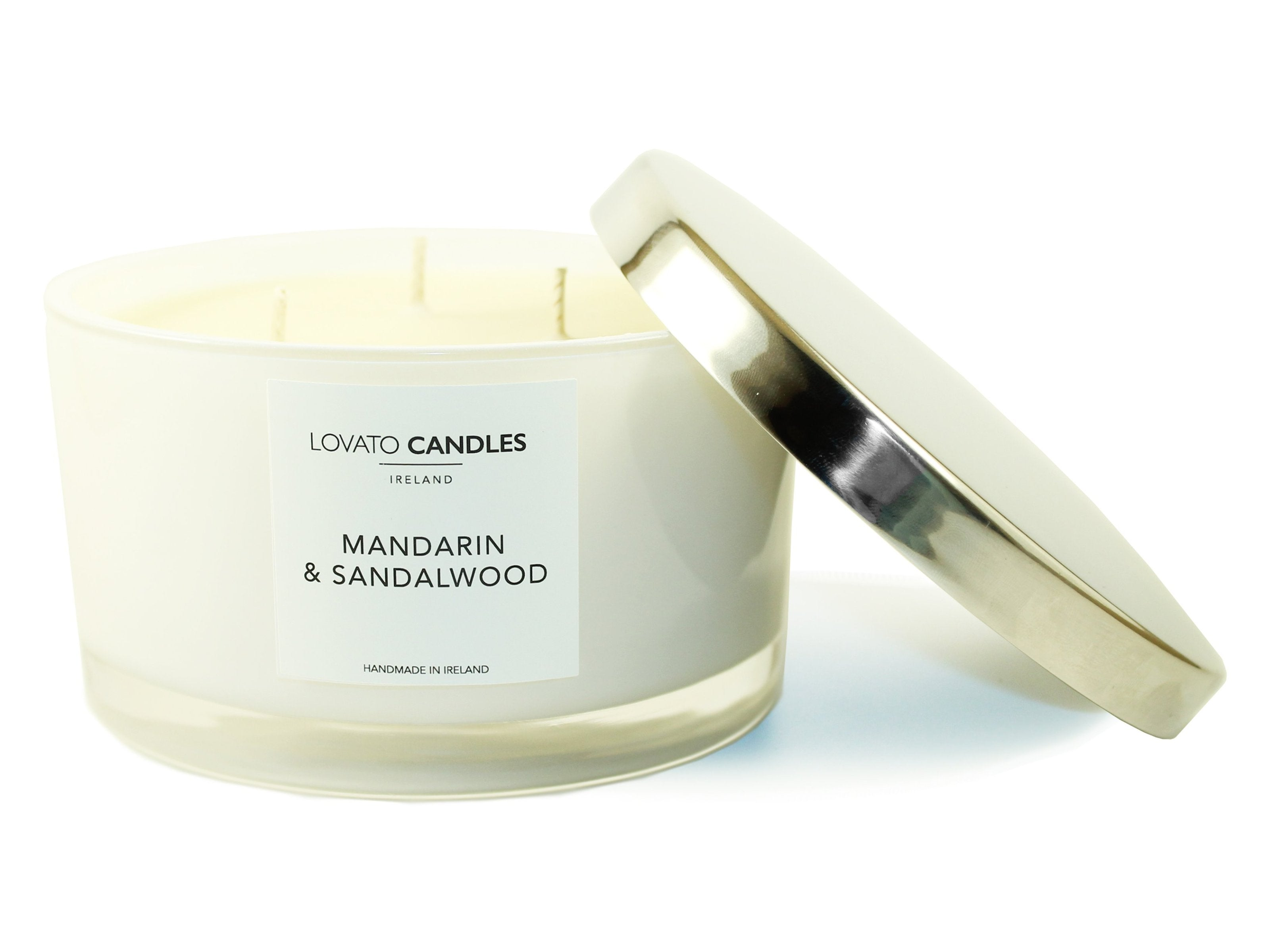 White 3-Wick Candle - Mandarin & Sandalwood - Lovato Candles