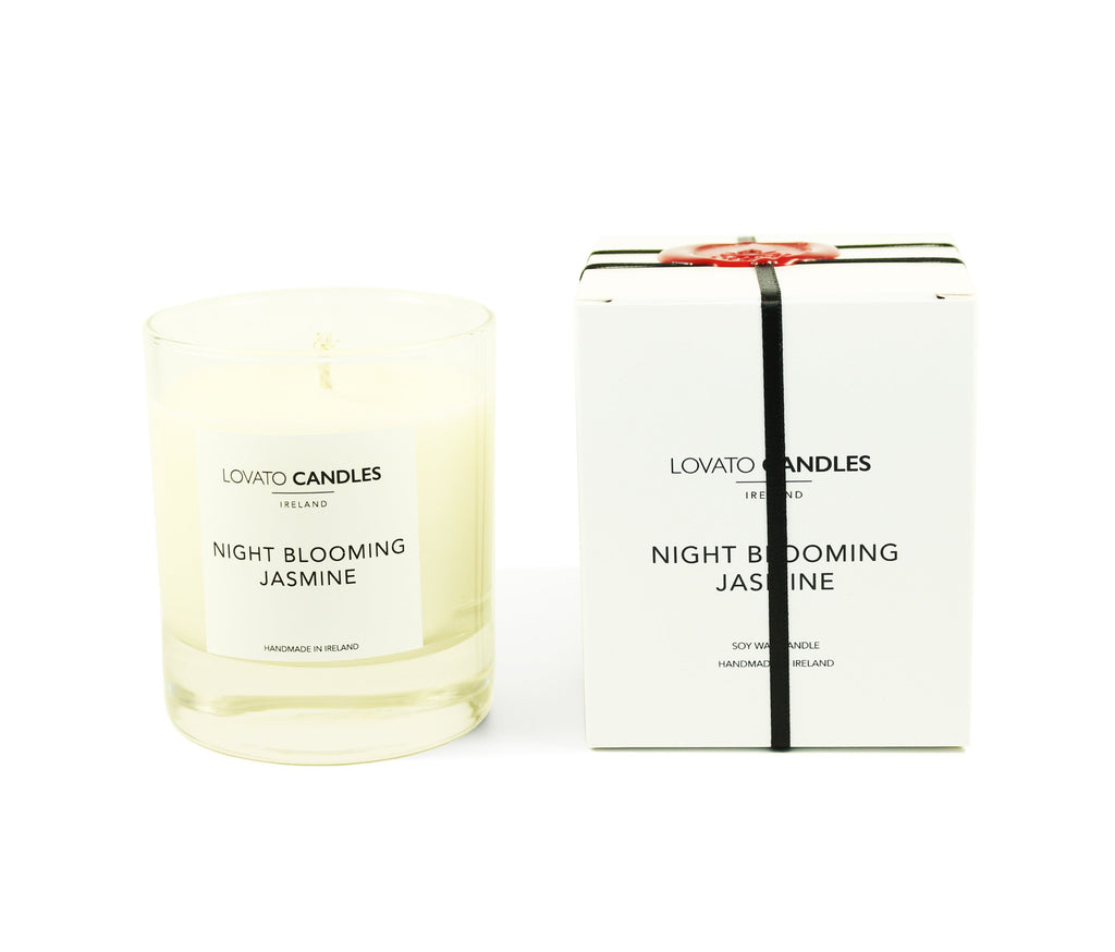 Clear Scented Candle with Luxury White Box - Night Blooming Jasmine - Lovato Candles