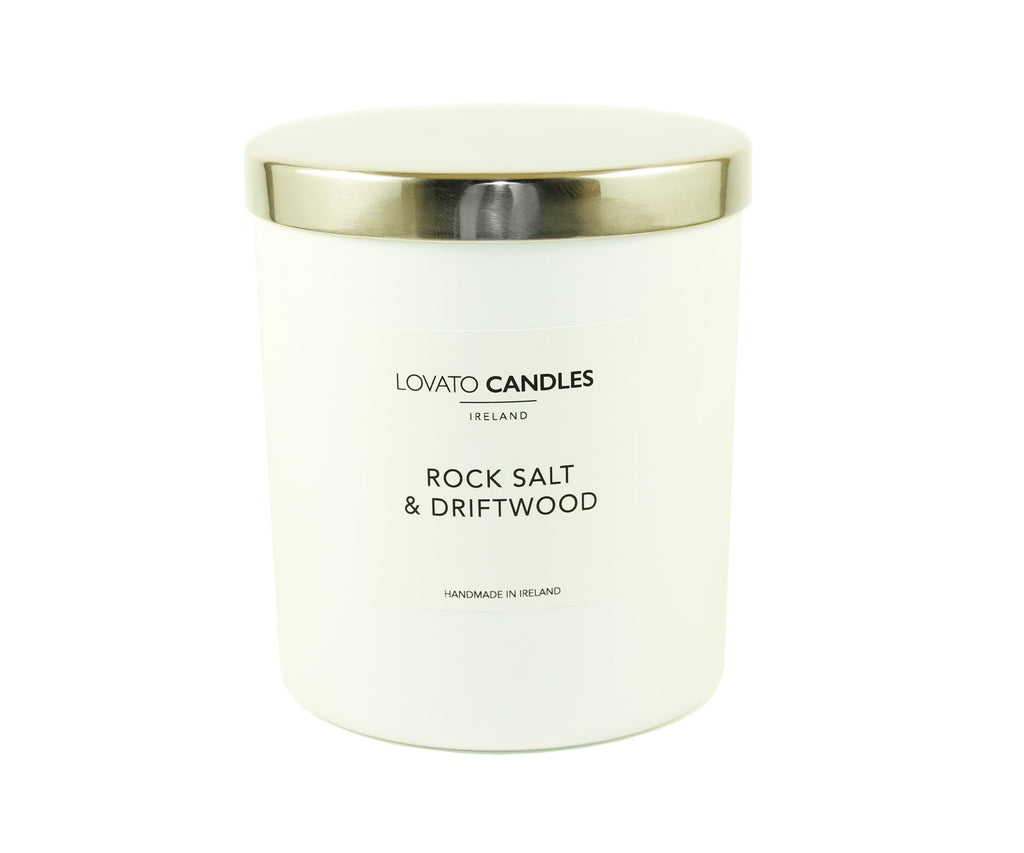 Luxury White Candle - Rock Salt & Driftwood - Lovato Candles