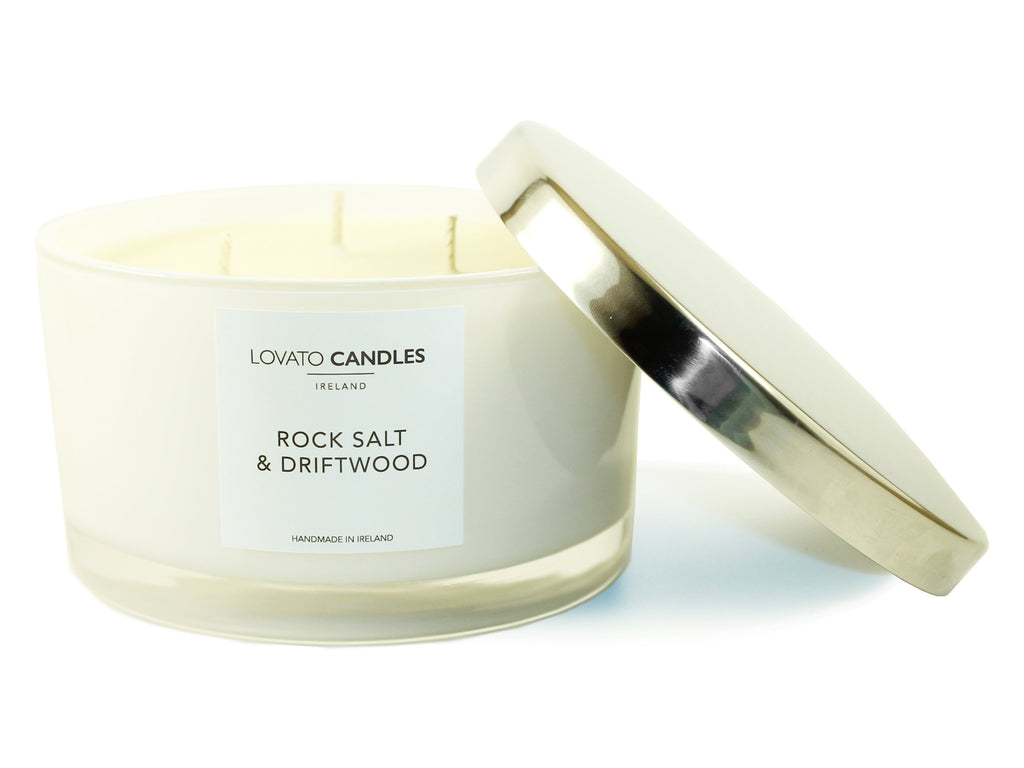 White 3-Wick Candle - Rock Salt & Driftwood - Lovato Candles