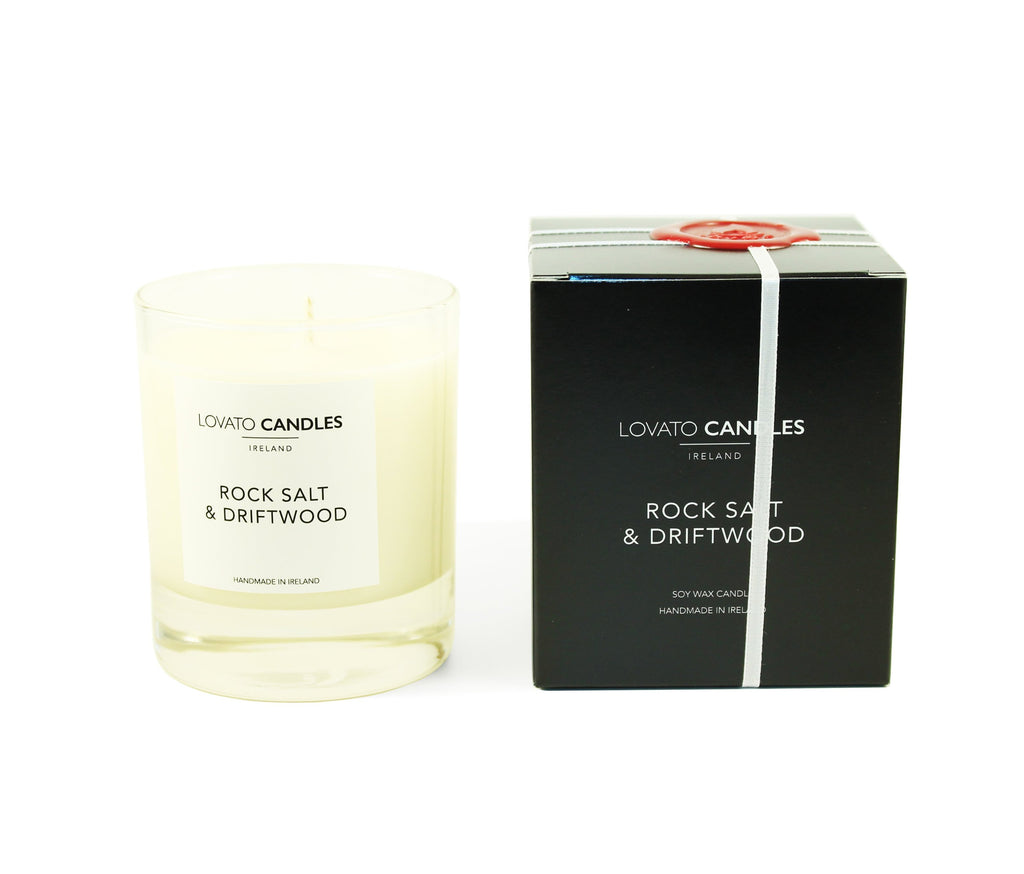 Clear Scented Candle with Luxury Black Box - Rock Salt & Driftwood - Lovato Candles