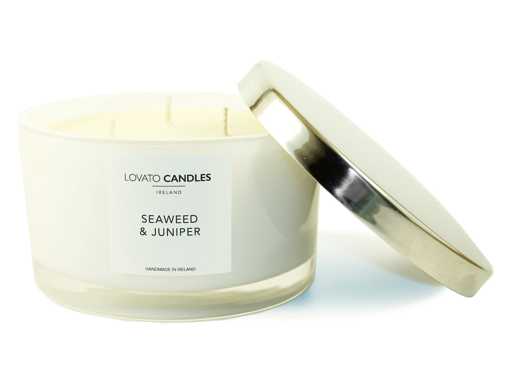 White 3-Wick Candle - Seaweed & Juniper - Lovato Candles