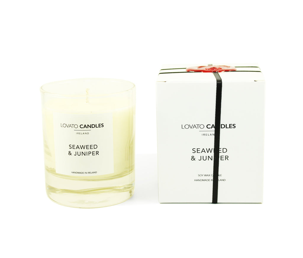 Clear Scented Candle with Luxury White Box - Seaweed & Juniper - Lovato Candles