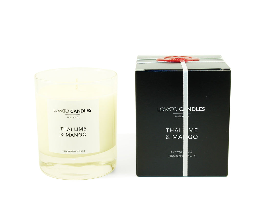 Clear Scented Candle with Luxury Black Box - Thai Lime & Mango - Lovato Candles