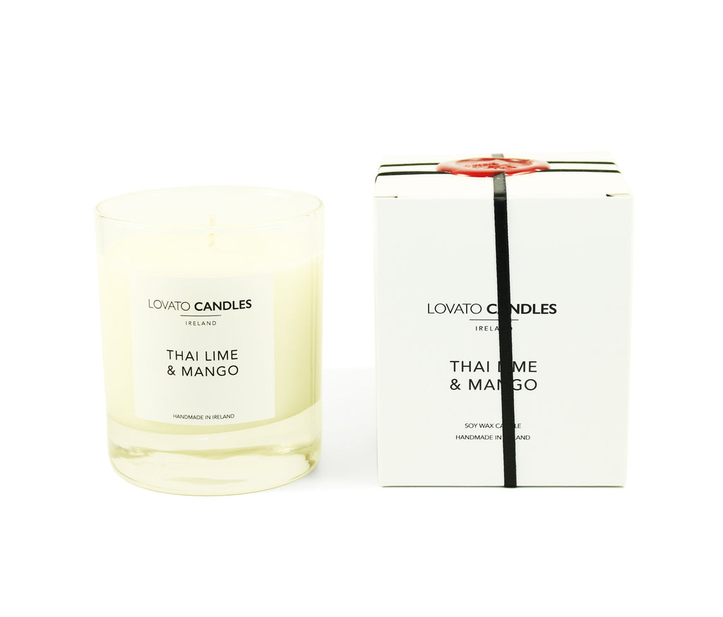 Clear Scented Candle with Luxury White Box - Thai Lime & Mango - Lovato Candles