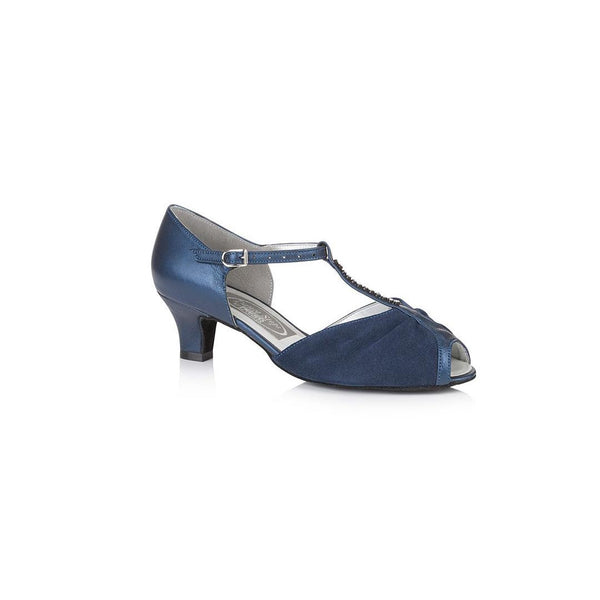 Papoutsia Latin Gynaikeia Social Dance Steps Xeiropoihta FreedOfLondon Topaz Navy Blue Leather Suede MelizDanceShop