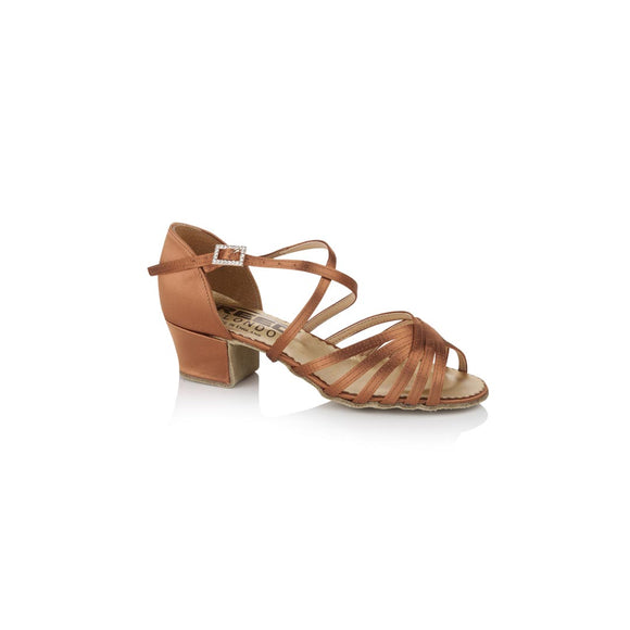 Papoutsia Latin Paidika Xeiropoihta FreedOfLondon Satine Dark Tan MelizDanceShop