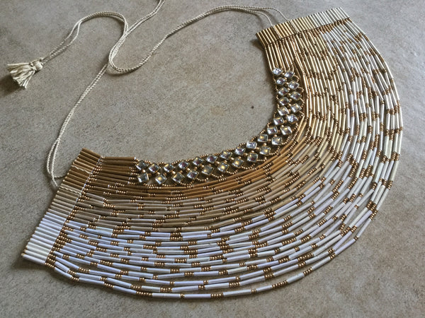 32 Layered Necklace - Paper Jewellery - White & Gold Colour - Glass Work